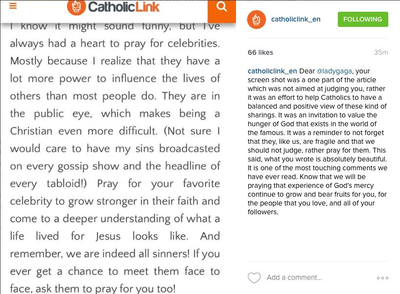Captura de pantalla del Instagram de Catholic-Link