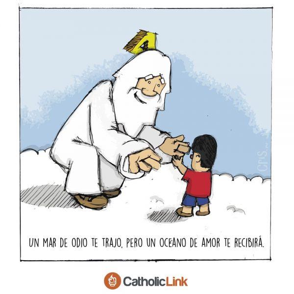 Caricatura: Dios recibe a Aylan