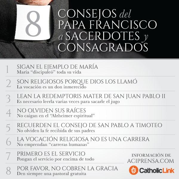 Infografía: 8 consejos del Papa Francisco a sacerdotes y consagrados