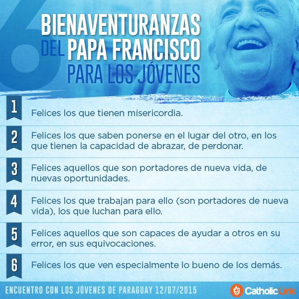 Infografía: 6 bienaventuranzas del Papa Francisco para los jóvenes