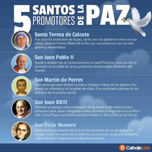 Infografía: 5 santos promotores de la paz