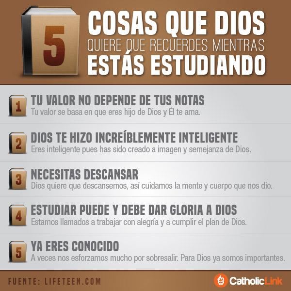 Infografía: 5 cosas que Dios quiere que recuerdes mientras estudias