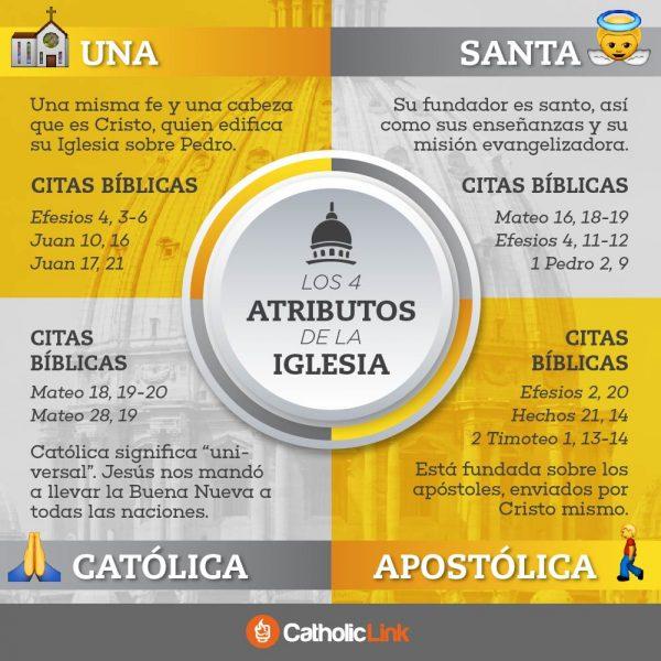 Infografía: Los 4 atributos de la Iglesia Católica