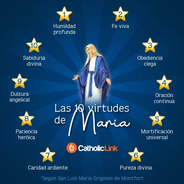 Infografía: Las 10 virtudes de María según San Luis Grignon de Montfort