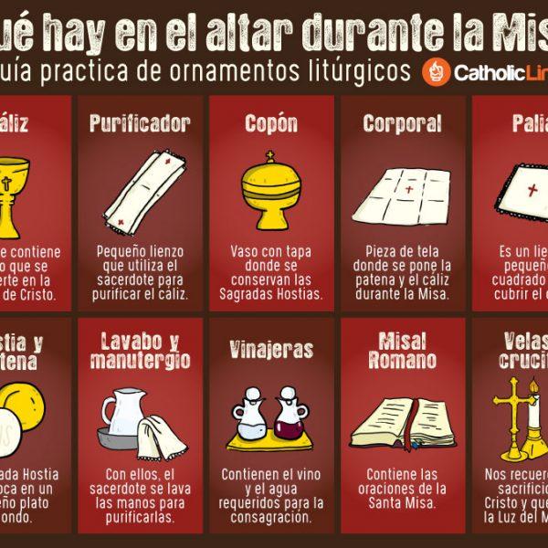 Infografía: ¿Qué hay en el altar durante la Misa? Guía práctica de ornamentos litúrgicos