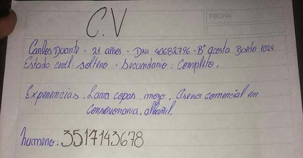 Carlos Duarte, (Viral) Joven argentino sorprende a todos al escribir a mano su curriculum para conseguir trabajo
