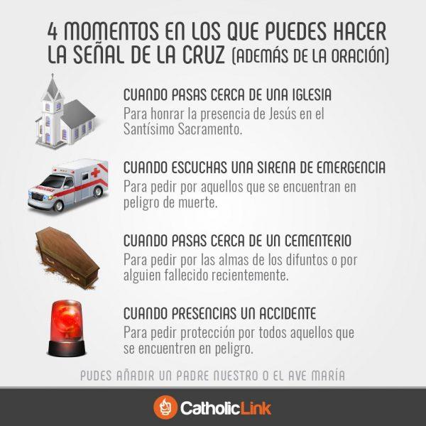 Infografía: 4 momentos para hacer la señal de la Cruz