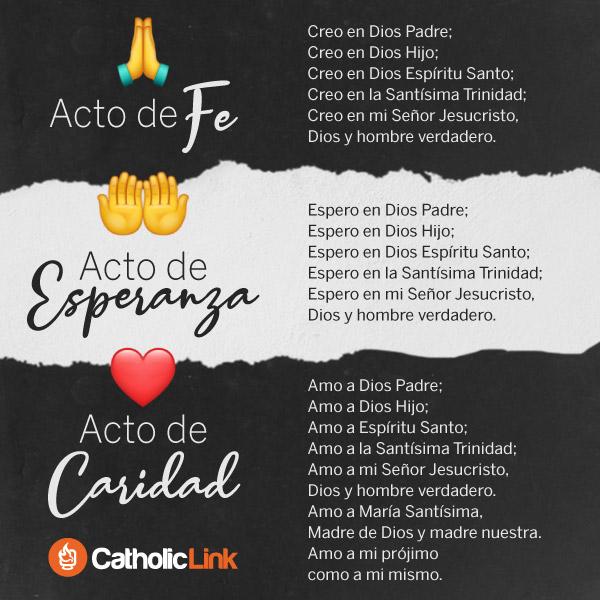 Oración de Acto de fe, esperanza y caridad