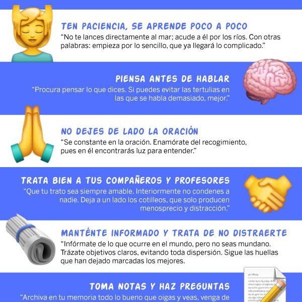 Infografía: 6 consejos de Santo Tomás de Aquino a estudiantes
