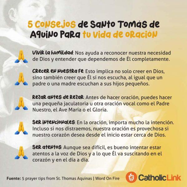 Infografía: 5 consejos de Santo Tomás de Aquino para rezar