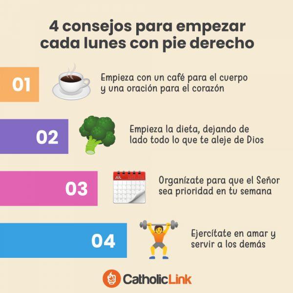 Infografía: 4 consejos para empezar cada lunes